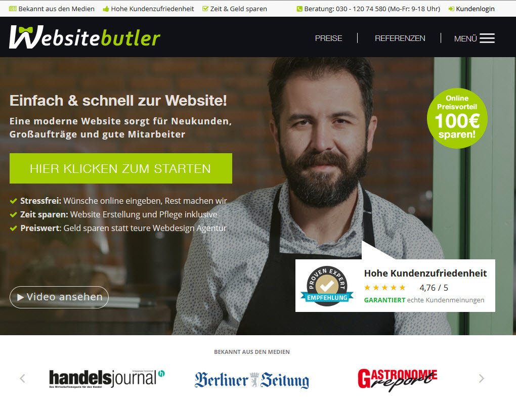 Websitebutler Homepage